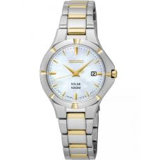 Seiko Ladies Discover More Solar Two Tone Bracelet Watch SUT294P1