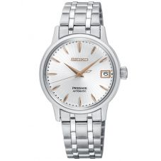 Seiko Ladies Presage Automatic Silver and Rose Gold Date Dial Stainless Steel Bracelet Watch SRP855J1