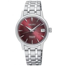 Seiko Ladies Presage Cocktail Automatic Red Date Dial Stainless Steel Bracelet Watch SRP853J1
