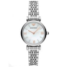 Emporio Armani Ladies T-Bar Stainless Steel Mother Of Pearl Stone Set Dial Bracelet Watch AR11204