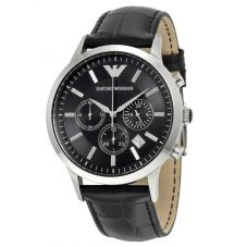Emporio Armani Gents Stainless Steel Black Chronograph Dial Black Strap Watch AR2447