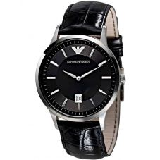 Emporio Armani Gents Stainless Steel Black Dial Black Strap Watch AR2411