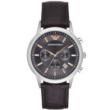 Emporio Armani Mens Chronograph Brown Leather Strap Watch AR2513