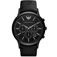 Emporio Armani Mens Chronograph Black PVD Leather Strap Watch AR2461
