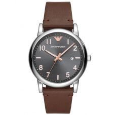Emporio Armani Mens Grey Dial Brown Leather Strap Watch AR11175