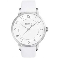 BOSS Ladies Eclipse White Leather Strap Watch 1502409