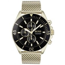 BOSS Mens Ocean Edition Chronograph Gold Mesh Bracelet Watch 1513703