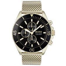 BOSS Mens Ocean Edition Chronograph Gold Mesh Bracelet Watch 1513703