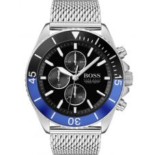BOSS Mens Ocean Edition Black Chronograph Dial Mesh Strap Watch 1513742