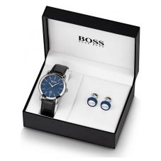 BOSS Mens Black Leather Strap Watch and Cufflink Set 1570092