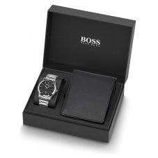 BOSS Mens Stainless Steel Black Dial Bracelet Watch and Wallet Set  1570093