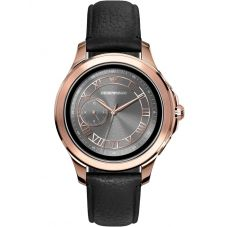 Emporio Armani Connected Touchscreen Rose PVD Black Leather Strap Smartwatch ART5012