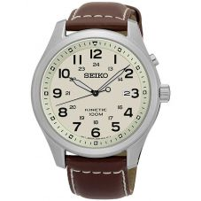 Seiko Mens Discover More Kinetic Brown Leather Strap Watch SKA723P1