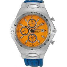 Seiko Mens Conceptual Discover More Quartz Chronograph Blue Leather Strap Watch SNAF83P1