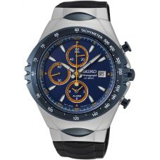 Seiko Mens Discover More Blue Rubber Strap Watch SNAF85P1