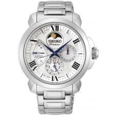 Seiko Mens Premier Kinetic Direct Drive White Dial Bracelet Watch SRX015P1