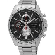 Seiko Mens Chronograph Quartz Black Dial Bracelet Watch SSB255P1