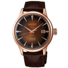 Seiko Mens Presage Automatic Rose Gold Plated Brown Date Dial Leather Strap Watch SRPB46J1