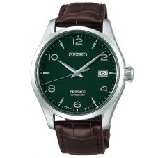 Seiko Mens Presage Limited Edition Automatic Green Enamel Day Date Dial Brown Leather Strap Watch SPB111J1