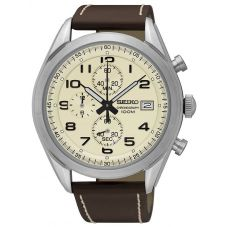 Seiko Mens Stainless Steel Cream Chronograph Dial Brown Leather Strap Watch SSB273P1