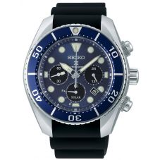 Seiko Mens Prospex Sumo Solar Blue Chronograph Dial Black Rubber Strap Watch SSC759J1