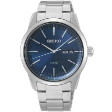 Seiko Mens Discover More Solar Blue Bracelet Watch SNE525P1