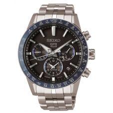 Seiko Mens Astron GPS Solar Black and Blue Chronograph Dial Titanium Bracelet Watch SSH001J1
