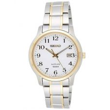 Seiko Mens Sapphire White Dial Stainless Steel Two Tone Bracelet Watch SGEH68P1