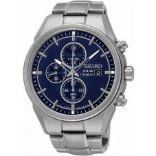 Seiko Mens Discover More Solar Titanium Chronograph Blue Bracelet Watch SSC365P1