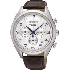 Seiko Mens Discover More Chronograph Brown Leather Strap Watch SSB229P1