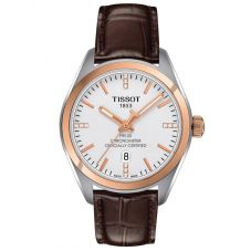 Tissot Ladies PR 100 Chronometer White Diamond Dial Brown Leather Strap Watch T101.251.26.036.00