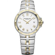 Raymond Weil Ladies Parsifal Two Tone Classic White Roman Numeral Dial Bracelet Watch 5180-STP-00308