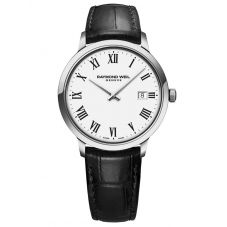 Raymond Weil Mens Toccata Classic White Roman Numeral Dial Black Leather Strap Watch 5485-STC-00300