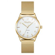 THOMAS SABO Code TS Gold Plated White Dial Mesh Strap Watch WA0340-264-202-40MM