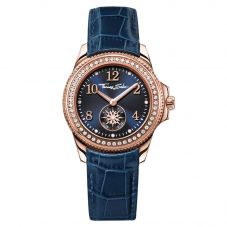 Thomas Sabo Rose Gold Plated Blue Strap Watch WA0216-270-209-33mm
