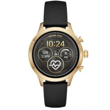Michael Kors Access Ladies Runway Gold Plated Black Rubber Strap Smartwatch MKT5053