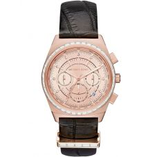 Michael Kors Ladies Vail Rose Gold Tone Chronograph Black Strap Watch MKT5055