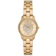 Michael Kors Ladies Petite Runway Gold-Tone Pavé Bracelet Watch MK6618