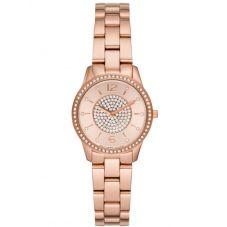 Michael Kors Ladies Petite Runway Rose-Tone Pavé Bracelet Watch MK6619