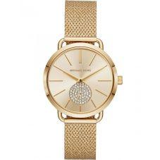 Michael Kors Ladies Portia Gold Plated Gold Crystal Set Dial Mesh Strap Watch MK3844