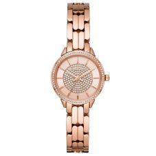 Michael Kors Ladies Allie Crystal Dial Rose Gold Plated Bracelet Watch MK4413