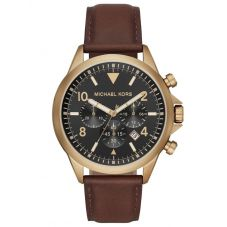 Michael Kors Mens Gage Gold Plated Black Chronograph Dial Brown Leather Strap Watch MK8785