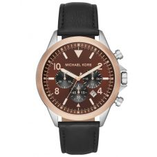 Michael Kors Mens Gage Rose Gold Plated Two Tone Brown Chronograph Dial Black Leather Strap Watch MK8786
