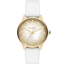 Diesel Ladies Castilla Gold Glitter Dial White Leather Strap Watch DZ5565