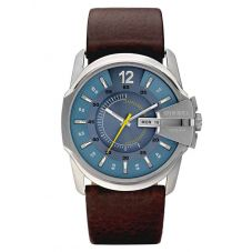 Diesel Mens Chief Stainless Steel Blue Dial Brown Leather Strap Watch DZ1399