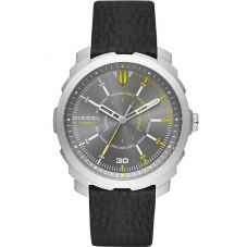 Diesel Mens Machinus Black Leather Strap Watch DZ1739