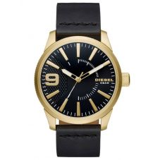 Diesel Mens Rasp Gold Plated Black Leather Strap Watch DZ1801