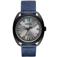 Diesel Mens Fastbak Grey Dial Stainless Steel and Black-IP Blue Leather Strap Watch DZ1838