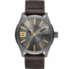 Diesel Mens Rasp Grey Dial Dark Brown Leather Strap Watch DZ1843