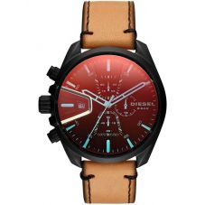 Diesel Mens MS9 Chronograph Iridescent Dial Brown Leather Strap Watch DZ4471
